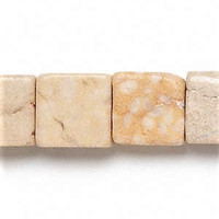 "Cream Riverstone 15mm Square Beads (16"" Strand)"