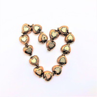 Genuine Copper & Sterling Silver Puffed Heart Beads (2)