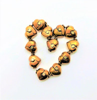 "Genuine Copper & Sterling Silver Puffed ""Broken"" Heart Beads (2)"