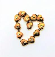 "Genuine Copper & Sterling Silver Puffed ""Broken"" Heart Beads (2)"