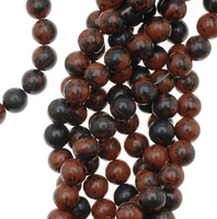 "Mahogany Obsidian 8mm Smooth Round Beads (16"" Strand)"