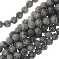 "Grey Picasso Jasper 8mm Smooth Round Beads (16"" Strand)"