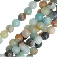 "Natural Amazonite 8mm Smooth Round Beads (16"" Strand)"