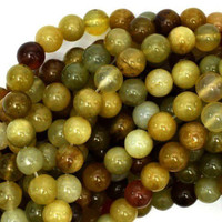 "Flower Jade 8mm Smooth Round Beads (16"" Strand)"