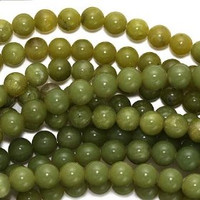 "Olive Jade 6mm Smooth Round Beads (16"" Strand)"