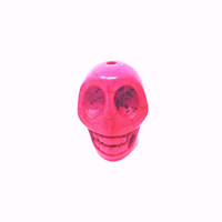 Hot Pink Howlite 13.5mm Skull Beads (5 beads)