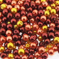 UnCommon Artistry  Glass Pearl Mix 100pcs 8mm - Fire Mix
