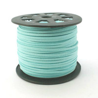 Bulk Roll Faux Leather Suede Beading Cord, Aqua Blue (300 feet/100 yards)