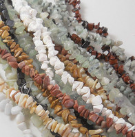 Over 1 Pound Mixed Gemstone Small to Medium Chip Beads Randum Mix 10 Strands 34 Inch or Longer