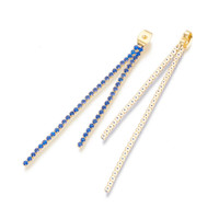 Designer Gold Plated 6x4x3.5mm Ear Nuts with Sapphire Crystal Rhinestone Cup Chains (2)