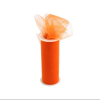 Tulle Fabric Spool/Roll 6-Inch X 25 yards (75-Feet) Orange