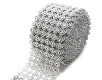 "Silver Diamond Flower Shape Mesh Wrap Roll Faux Rhinestone Ribbon 4"" x 10 yards (30 ft)"