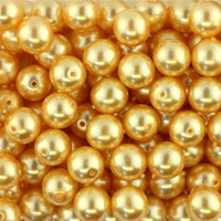 UnCommon Artistry Wholesale Bulk Glass Pearl Beads- 20 Strands, 145 pcs per Strand- 2900 Beads-  (Gold, 6mm)