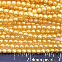 Wholesale Bulk Glass Pearl Beads- 20 strands, 215 pcs per strand- 4300 beads- 4mm - Gold