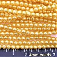 Wholesale Bulk Glass Pearl Beads- 20 strands, 215 pcs per strand- 4300 beads- 4mm - Gold