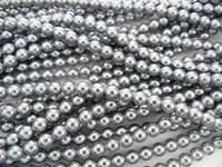 Wholesale Bulk Glass Pearl Beads- 20 Strands, 145 pcs per Strand- 2900 Beads(Silver, 6mm)