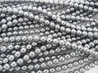 Wholesale Bulk Glass Pearl Beads- 20 Strands, 145 pcs per Strand- 2900 Beads(Silver, 6mm)