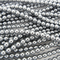 Wholesale Bulk Glass Pearl Beads- 20 strands, 215 pcs per strand- 4300 beads- 4mm - Silver