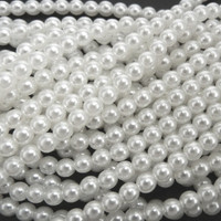 Wholesale Bulk Glass Pearl Beads- 20 Strands, 145 pcs per Strand- 2900 Beads-  (White, 6mm)