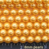 Wholesale Bulk Glass Pearl Beads- 15 strands, 105 pcs per strand- 1575 beads (Gold, 8mm)