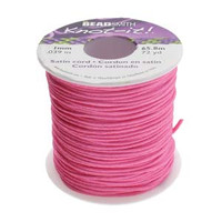 Knot It Rattail Satin Cord 1mm 72 Yard Spool- Hot Pink