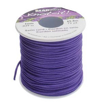 Knot It Rattail Satin Cord 1mm 72 Yard Spool- Purple