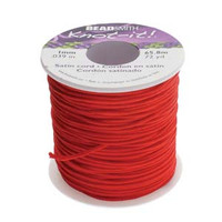 Knot It Rattail Satin Cord 1mm 72 Yard Spool- Red