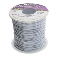 Knot It Rattail Satin Cord 1mm 72 Yard Spool- Silver