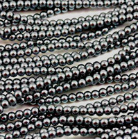 Wholesale Bulk Glass Pearl Beads- 15 strands, 105 pcs per strand- 1575 beads (Hematite, 8mm)