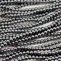 Wholesale Bulk Glass Pearl Beads- 15 strands, 105 pcs per strand- 1575 beads (Hematite, 8mm)