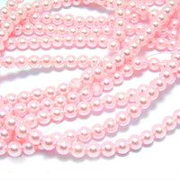Wholesale Bulk Glass Pearl Beads- 20 strands, 215 pcs per strand- 4300 beads- 4mm - Baby Pink