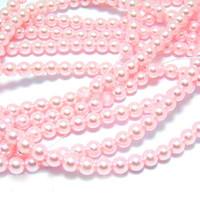 Wholesale Bulk Glass Pearl Beads- 20 strands, 215 pcs per strand- 4300 beads- 4mm - Baby Pink