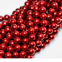Wholesale Bulk Glass Pearl Beads- 20 Strands, 145 pcs per Strand- 2900 Beads (Cranberry Red, 6mm)