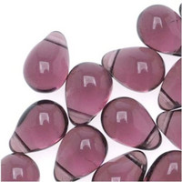 Czech Glass Beads 9mm Teardrop Light Amethyst (50)