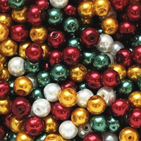 UnCommon Artistry Glass Pearl Mix 100pcs 8mm -Ho Ho Ho Christmas Mix