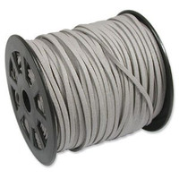 Faux Leather Suede Beading Cord, Light Gray (20 feet)