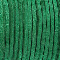 Faux Leather Suede Beading Cord, Metallic Emerald Green (20 ft)