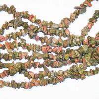 Unakite Chips 5-10mm Beads/ 35 Inch Strand
