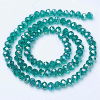 UnCommon Artistry Glass Beads (Electroplated Faceted Rondelle Dark Cyan AB, 10x8 (25 pcs))