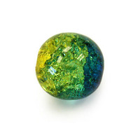 Czech Glass Druk 6mm Round Crackle Olive/Capri (50)