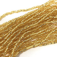 Czech Seed Beads Straw Gold Silver Lined 11/0  (1 Hank)