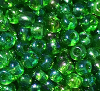 Czech Seed Beads 6/0 Green Translucent Iris (1 ounce)