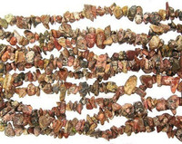 "Leopardskin Jasper Gemstone Chip Beads 36"" Strand"