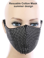 Sexy Face Mask,Dust Cotton Mouth Masks, Washable, Reusable,For Outdoor Activities (Rhinestone, Silver)