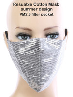 Sexy Face Mask,Dust Cotton Mouth Masks, Washable, Reusable,For Outdoor Activities (Sequin, Silver)