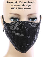 Sexy Face Mask,Dust Cotton Mouth Masks, Washable, Reusable,For Outdoor Activities (Sequin, Black)