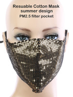 Sexy Face Mask,Dust Cotton Mouth Masks, Washable, Reusable,For Outdoor Activities (Sequin, Gold)