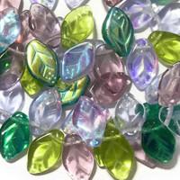 Czech Glass 7x12mm Leaf Bead Mix, Lavender Garden Mix (50)