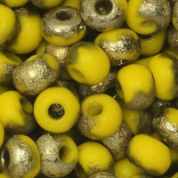 Czech Glass, Bohemian Aged 6/0 Round Seed Beads, 10 Grams, Etched Yellow and Amber