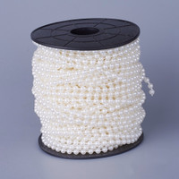 Glass Pearl 5mm Beads Garland Roll, 30 meters (99 feet) Ivory